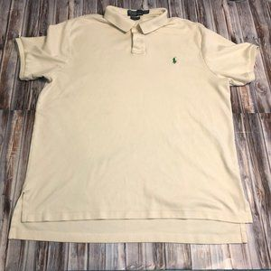 Polo Cream with Green Logo Size XL